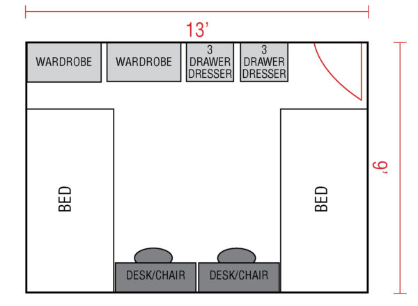 A floor plan of a Garbee Hall double room.